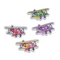 Wholesale Wooden Airplanes - Cartoon Airplane Shape Wooden Decorative Buttons With 2 Holes Buttons 1.95x3.2cm For Craft Garment Accessorie Pack Of 30pcs I475L