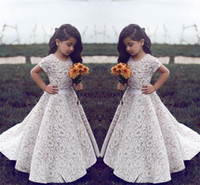 Wholesale Green Pageant Dresses For Girls - Lace Flower Girl Dresses For Wedding Vintage Jewel Short Sleeves A Line Girls Pageant Dress Sweep Train Kids Birthday Prom Dress Formal Wear