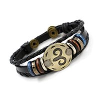 Wholesale Tin Signs China - Fashion Bronze Alloy Buckles 12 Zodiac Signs Bracelet Punk Leather Bracelet Wooden Bead + Black Gallstone For Men Charm Jewelry