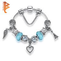 Wholesale Crystal Gift Clock - BELAWANG Silver Plated Heart Pendant Charm Bracelets Blue Murano Glass Clock Crystal Beads Bracelets&Bangles For Best Friend Christmas Gift