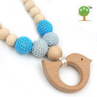 Bohemian organic wooden beads - Mommy Organic Teething bead necklace Nursing necklace Sky blue beech bird wooden charm toy baby teether gift EN33