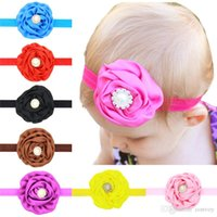 Baby Stirnbänder Blumen Satin Rose Head Bands Kinder Haarschmuck Rhinestone Perle Hairbands Prinzessin Headdress Elastic Headwear KHA168