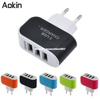 Wholesale I Devices - dhgate 3 Ports Multiple Wall USB Smart Charger 5V 3A EU Plug Adapter Mobile Phone Device Fast Charging Newest for i phone Samsung