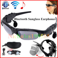 Wholesale Earphones Colour - Smart Glasses Bluetooth Sunglasses 4 Colour Sun Glasses Outdoor Sport Headset MP3 Player Cell Phone Wireless Earphones Bluetooth Eyeglasses