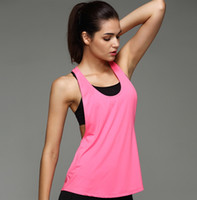 Wholesale Wholesale Fitness Workout Clothes - gym Sports TShirt smock women sports vest Yoga Workout Vest Fitness Training Exercise quick drying Sportswear Tee Tank Tops Singlets Clothes