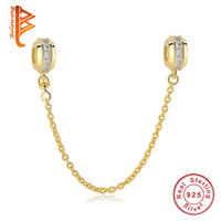 Wholesale Gold Loose Beads - BELAWANG 925 Sterling Silver Safety Chain 14K Gold Charms with Cubic Zircon for Women fit Pandora Charm Bracelets&Bangles DIY Jewelry Making