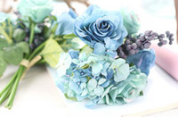 Wholesale Silk Bouquet Hydrangea Rose - Blue artificial rose bouquet wedding creative decorations diameter about 21cm include rose, hydrangea and berries free shipping WT037