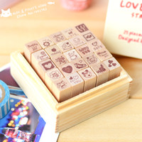 Wholesale Decorative Rubber Stamps Set - Wholesale-DIY Diary Craft Stamp Decorative Scrapbooking Wood Stamp 25pcs set Love   Happy Life Two Styles Wooden Rubber Stamp tinta sellos