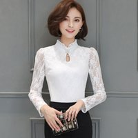 Wholesale Lace Collared Long Sleeve Blouse - New Autumn Elegant Lace Shirt Fashion Stand Collar Pure Color Long Sleeve Blouse Slim Plus Size Shirts Underwear Women Blouses S-3XL