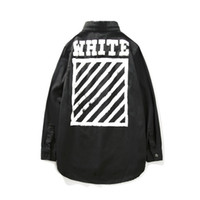Wholesale Slim Coat Outerwear - Newest OFF WHITE Long Shirts Jacket Men Women Hiphop Distressed Casual Fashion Denim Jacket Coats Outerwear Size S M L XL