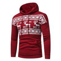 Wholesale Fleece Christmas Jacket - Fashion Christmas Red Sweater Deer Printed Pullover Winter Sweater Men Red Black Hoodie Sweatershirt Men's Fleece Hooded Casual Jacket