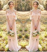 Wholesale Bohemian Long Prom Dress - 2016 Bohemian Country Bridesmaid Dresses Spaghetti Straps Sheath Floor Length Sexy Party Prom Dresses Off Shoulder Short Sleeves