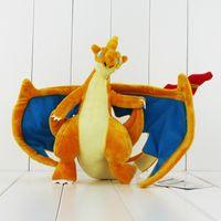 Wholesale Cute Pokemon - 24cm Cute Poke Charizard Dragon Plush Soft Stuffed Doll Toy for kids birthday gift free shipping retail