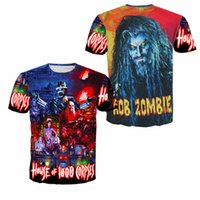 Wholesale White Zombie Shirt - Rob Zombie House of 1000 Corpses Tee Shirts New Summer Fashion European Women Men Crew Neck Short Sleeve Simple Loose Hip Hop Casual shirt