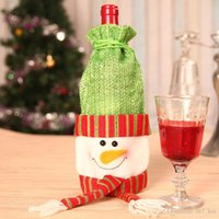 Wholesale Table Cover Woven - Christmas Red Wine Bottle Set Cover Gift Bag Non-woven Material Xmas Dinner Party Table Decoration Champagne Bottle Bag