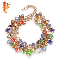 Wholesale Friendship Crystals - BELAWANG Bohemian Style Women Bracelets Gold Plated Colorful Crystal Stone Charm Bracelets For Friendship Gift Bracelets Free Shipping