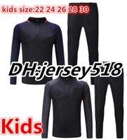 Wholesale Suits Kids Boys White - 17 18 kids MESSI SUAREZ survetement jacket Training suit Children soccer Jersey A.INIESTA SERGIO PIQUE I.RAKITIC O.Dembele tracksuits