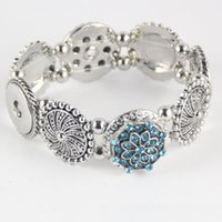 Wholesale Charms For Jewelry Mexican - Popular fashion elegant artistical snap jewelry charm bracelet fit Noosa chunk snap alloy button for women