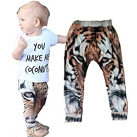 Wholesale Harem Trousers For Kids - cute 2-5T toddler boy harem pants cartoon tiger boys trousers 2017 fashion 3D printed kids harem pants for boy clothes christmas