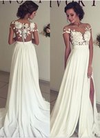 Wholesale Elegant Dress Top - 2017 Summer Beach Chiffon Wedding Dresses Lace Top Short Sleeves Illusion Neckline Side Slit Garden Elegant Bridal Gowns