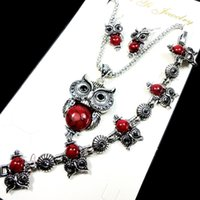 Wholesale crystal owl necklaces for sale - Group buy Fashion Jewelry Hot major Vintage Antique Silver Red Owl Jewelry Set Necklace Pendant Earring For Women Jewelry Sets LR112
