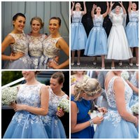 Wholesale Tea Length Wedding Dress Hollow - Sheer Lace Scoop Baby Blue Short Bridesmaid Dresses 2016 Tea Length A Line White Lace Wedding Party Gowns with Sash 2016 Hot Sale