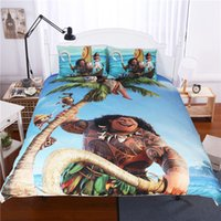 Wholesale Cartoon Quilt For Children - New Style Cartoon Quilt Cover Sets Queen Moana for kids Duvet Covers Children Blue In Bedding Sets 3PC Moana Duvet Covers Bedding Cotton
