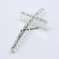 Wholesale Crosses Curved For Bracelets - 20PCS 25x48MM Silver Plating High Quality Curved Cross Rhinestone Connector Bar For Bracelet
