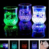 Wholesale Wholesale Decorative Plastic Cups - NEW LED Colorful Flash Light Whisky Shot Drink Plastic Wine Beer Mug Bar Party Wedding Club Decorative Cups FREE SHIPPING MYY