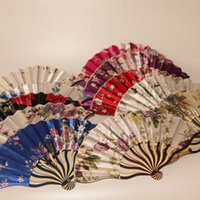 Wholesale flowers crafts - New Hot Wholesale Colors mix Pretty Flowered Chinese Craft Handheld Folding Hand Fan Style Printed Keel Fans