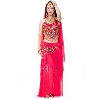 Wholesale Belly Dance Black Skirt - Belly Dance Costume Professional 5 Piece(Head Chain+Bra+Veil+Waist Chain+Skirt) Belli Dancer Free Size Sexy Costumes Free Ship