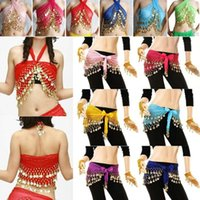 Wholesale Orange Belly Dancing Coin Belt - 2016 3 Rows 98 Coins Belly Egypt Dance Hip Skirt Scarf Wrap Belt Costume High quality Stage Wear dance costumes wholesale