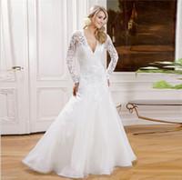bb233c1fa99 С длинными рукавами кружева-Line свадебные платья мусульманский V-образным  вырезом простой белый видеть сквозь корсет свадебные платья 2018 Vestido де  noiva ...
