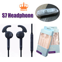 Wholesale Headset Key - S7 headset with control key and MIC In-Ear Stereo Headphones Headset for Samsung Galaxy S4 S5 note 2 3 S6 with retail box