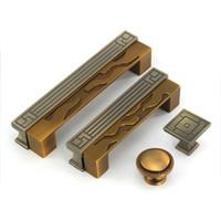 Wholesale Door Pull Handle Brass - Antique Bronze Door Pulls Knobs Cabinet Kitchen Dresser Drawer Handles,96mm 128mm 160mm Hole Spacing, Zinc Alloy