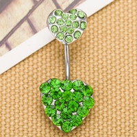 Wholesale Belly Ring Charms - D0204 mix colors heart style belly ring style Belly Button ring Navel Rings Body Piercing Jewelry Dangle Accessories Fashion Charm 10PCS