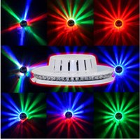 Wholesale Color Change Led Mini Lights - Rotating Mini 8W 48 LED Mini Auto&Voice-activated Rotating Party Lighting Sunflower LED Lights RGB Disco DJ equipment KTV Stage light