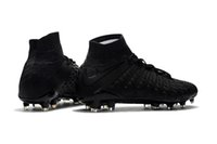 2018 Melhor qualidade Full Black Soccer Cleats Hypervenom Phantom III DF FG Soccer Shoes 100% Original Neymar JR High Ankle Mens Football Boots