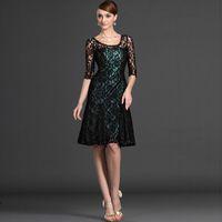 Wholesale Elegant Mum - Modest Ladies Design Half Sleeve Black Lace Mother of the Groom Dress A-line Knee Length Elegant Scoop Neck Dress Mum