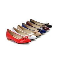 Fashion Comfort Lackleder Pointy Toe Bowknot Womens Flats Schuhe blau weiß rot claret Farbe