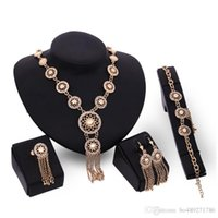 Wholesale Tribal Jewellery - 5 Styles Jewelry Sets Gold Plated Statement Necklace Bracelet Earring Ring Fashion Crystal Hollow Tribal Bridal Bridesmaid Wedding Jewellery