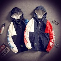 Wholesale Waterproof Jacket 5xl - New Fashion Front-zip Mens Windbreakers Loose Active Two Colors Lightweight Breathable Hoodie Waterproof Jacket Mens Front Pocket Jackets