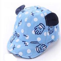 Wholesale Baby Boy Beret Hats - Cute Sun Hat Baby Boy Hats Ears Baseball Cap Summer Pure Cotton Beret Visors Cap Kids Sun Hats 1-3T