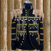 Wholesale stage wear jackets - mens stage performance black golden tassels beading tuxedo jacket stage wear singing bar wedding club performance jacket