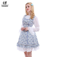 Wholesale Japanese Doll Sweet - Wholesale-Rolecos Japanese Sweet Light Blue Loose Doll Dress Lolita elastic rope sleeves School Girls Kawaii Dress GC107A