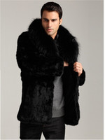 Wholesale Thick Mink Faux Fur Jackets - New Winter Men Coat plus size Faux Mink Fur Coat Thick Long Sleeve Natural Fur Overcoat Fashion Talior Made Fur Outerwear jacket