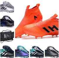 Wholesale Ace Boxes - ACE 17+ Purecontrol Pyro Storm Soccer Shoes ACE 17+ PureControl Primeknit FG Football Boots Cheap Performance Cleats + Box +Football Bag