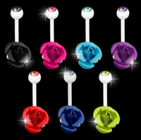 Wholesale Navel Stud Free Shipping - Free Shipping Double Rose Flowers Navel Stud Belly Ring Bar Button Jewelry Body Art Decor