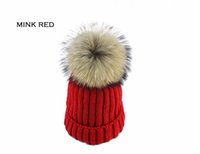 Wholesale Knit Mink Hat - Winter For Women Girl'S Wool Pom Poms Hat Knitted Cotton Mink And Fox Fur Ball Beanies Cap Female Hip Hop