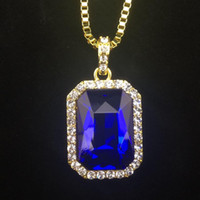 """Wholesale 14k Sapphire Necklace - New Mens Bling Faux Lab Ruby Pendant Necklace 24"""" 30"""" Box Chain Gold Plated Iced Out Sapphire Rock Rap Hip Hop Jewelry For Gift"""